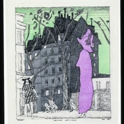 Feininger - Boulevard Saint-Michel, 1915, plume, encre de Chine et aquarelle sur papier.